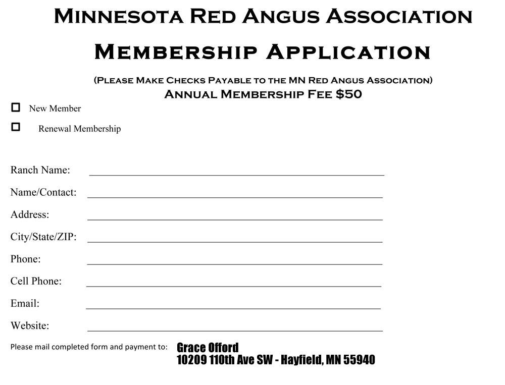 Membership form minnesota red angus association for Membership form template doc